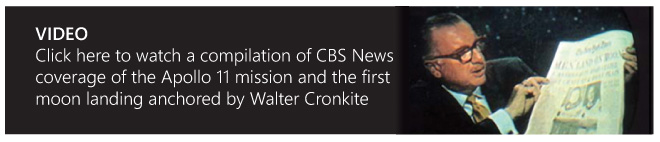 See the CBS News coverage for the Apollo 11 mission with Walter Cronkite