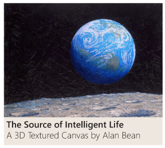 The Source of Intelligent Life a 3D textured canvas by Alan Bean