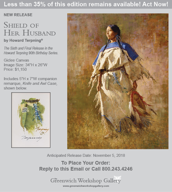 New Release from Artist Howard Terpning - Shield of Her Husband