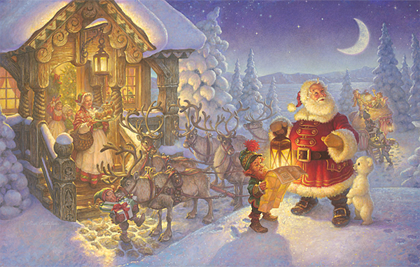 Santa at the North Pole<br> OPEN EDITION CANVAS