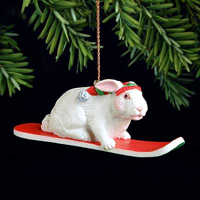 Will Bullas - SNOW BUNNY -  PEARL BISQUE ORNAMENT Published by the Greenwich Workshop