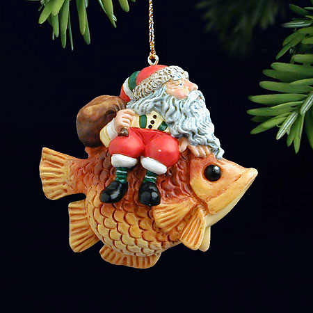 James C. Christensen - SANTA ON A FISH 2001 -  PEARL BISQUE ORNAMENT Published by the Greenwich Workshop