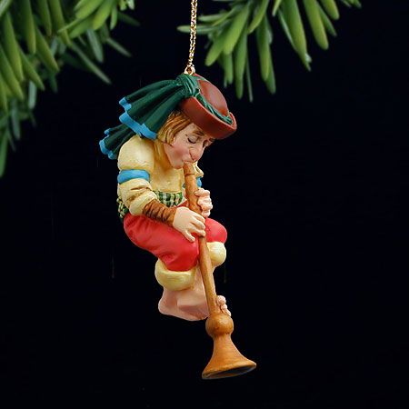 James C. Christensen - THE HORN BLOWER -  PEARL BISQUE ORNAMENT Published by the Greenwich Workshop