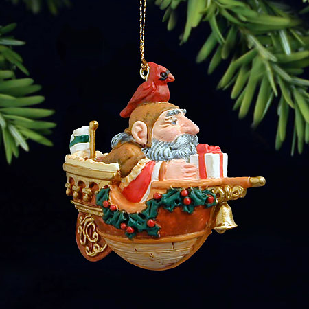 James C. Christensen - GIFT AHOY! -  PEARL BISQUE ORNAMENT Published by the Greenwich Workshop