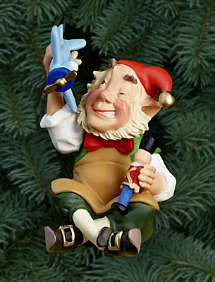 Scott Gustafson - TRENKLE ELF -  PEARL BISQUE ORNAMENT Published by the Greenwich Workshop