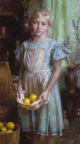 Morgan Weistling - Lemon Girl -  LIMITED EDITION CANVAS Published by the Greenwich Workshop