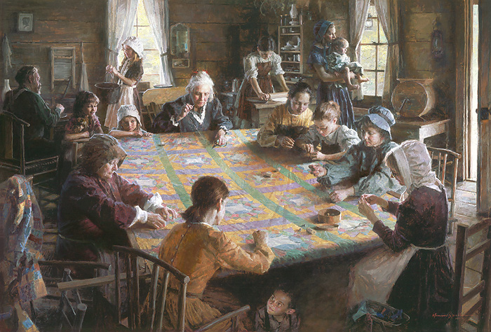Morgan Weistling - The Quilting Bee, 19th Century Americana -  LIMITED EDITION CANVAS Published by the Greenwich Workshop