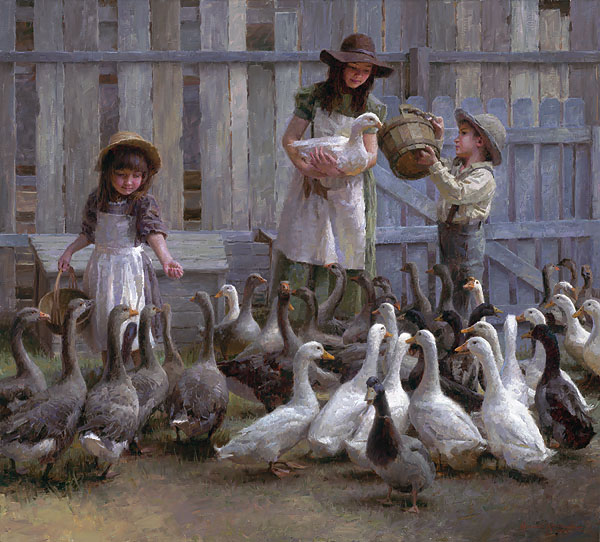 Morgan Weistling - Feeding the Geese -  LIMITED EDITION CANVAS Published by the Greenwich Workshop