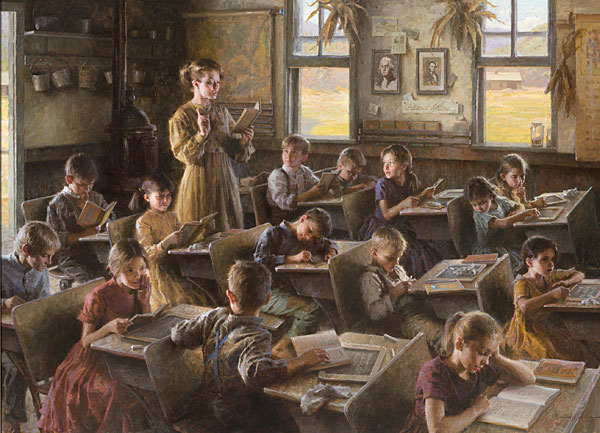 Morgan Weistling - Country Schoolhouse, 1879 -  MASTERWORK CANVAS EDITION Published by the Greenwich Workshop