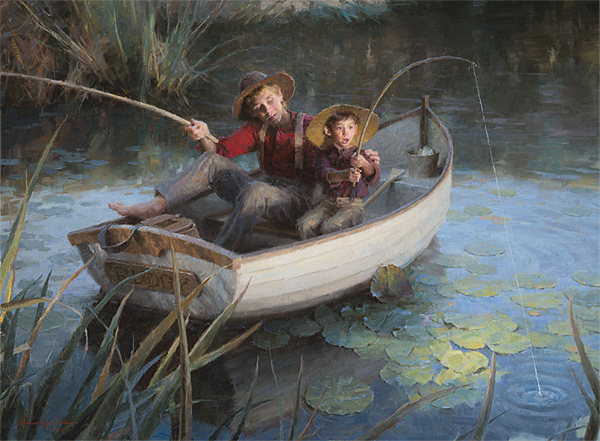 Morgan Weistling - The Fishing Hole -  LIMITED EDITION CANVAS Published by the Greenwich Workshop
