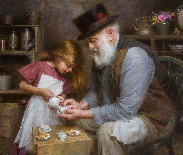 Morgan Weistling - Papa´s Tea -  LIMITED EDITION CANVAS Published by the Greenwich Workshop