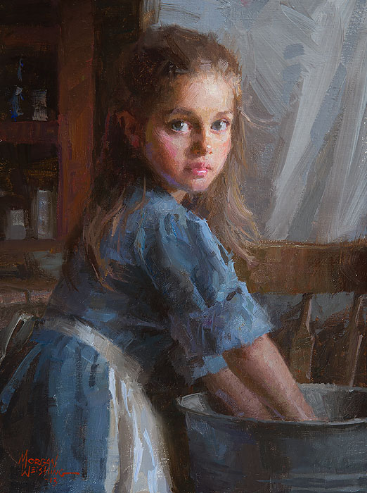 Morgan Weistling - Laundry Girl -  SMALLWORK CANVAS EDITION Published by the Greenwich Workshop