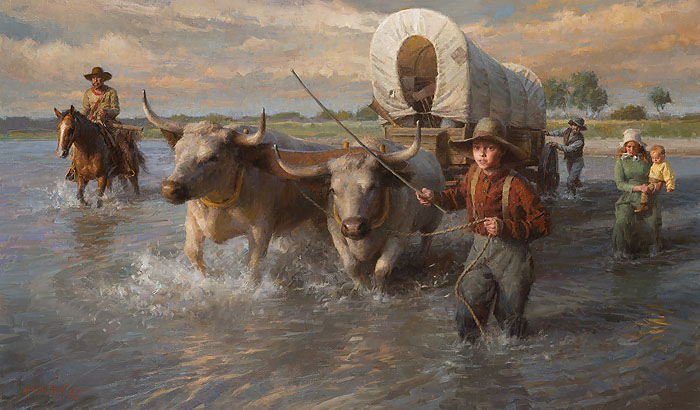 Morgan Weistling - Crossing the Cheyenne River, Summer, 1850 -  MASTERWORK CANVAS EDITION Published by the Greenwich Workshop