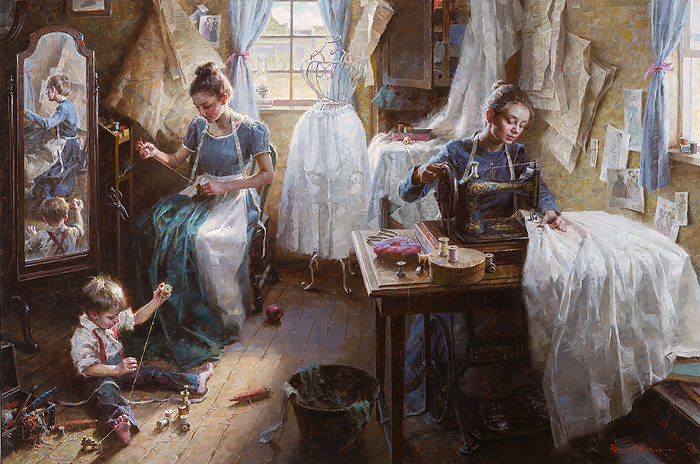 Morgan Weistling - Dressmaker´s Shop, 1886 -  LIMITED EDITION CANVAS Published by the Greenwich Workshop