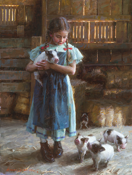 Morgan Weistling - Pig Tales -  LIMITED EDITION CANVAS Published by the Greenwich Workshop