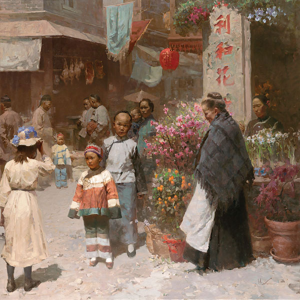 Mian Situ - Chinese Flower Shop, San Francisco 1904 -  LIMITED EDITION CANVAS Published by the Greenwich Workshop