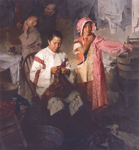 Mian Situ - The Calico Dress, Family Laundry, 1906 -  LIMITED EDITION CANVAS Published by the Greenwich Workshop