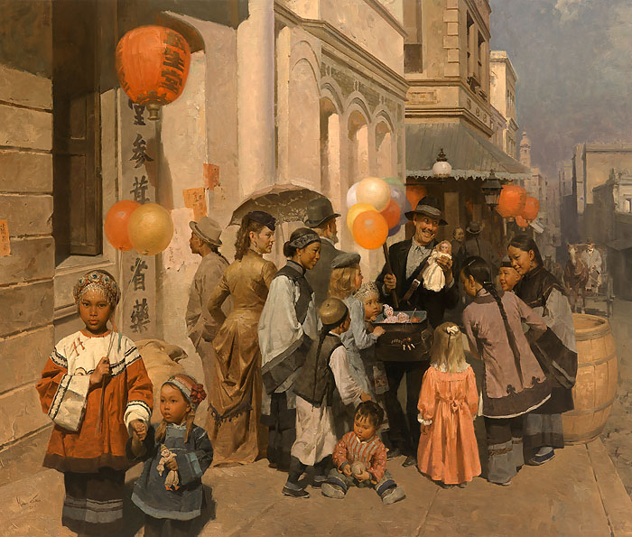 Mian Situ - Toy Peddler of Dupont Street, Chinatown,S.F. 1905 -  LIMITED EDITION CANVAS Published by the Greenwich Workshop