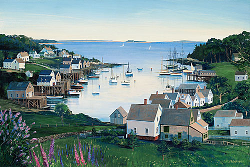 Sally Caldwell Fisher - VIEW OF NEW HARBOR -  LIMITED EDITION PRINT Published by the Greenwich Workshop