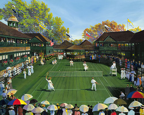 Sally Caldwell Fisher - Newport Tennis -  LIMITED EDITION CANVAS Published by the Greenwich Workshop