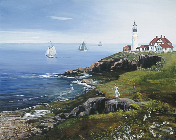 Sally Caldwell Fisher - Portland Head Lighthouse -  LIMITED EDITION CANVAS Published by the Greenwich Workshop