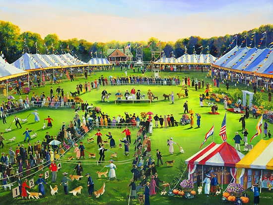 Sally Caldwell Fisher - The Dog Show -  LIMITED EDITION CANVAS Published by the Greenwich Workshop
