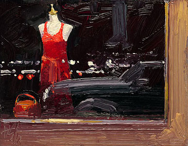 Ken Auster - Red Dress in the Window -  LIMITED EDITION CANVAS Published by the Greenwich Workshop