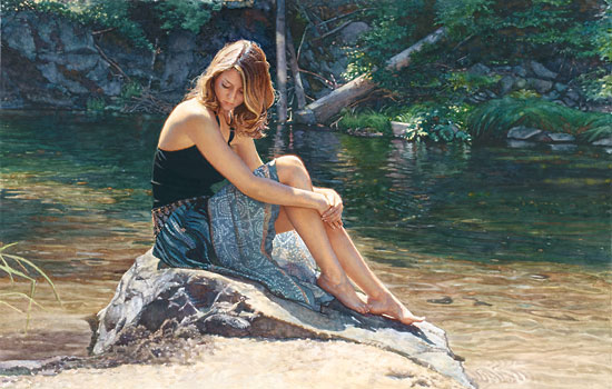 Steve Hanks - Listening to the River -  LIMITED EDITION PRINT Published by the Greenwich Workshop