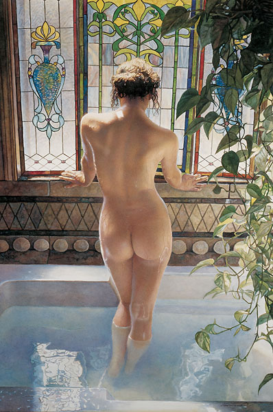 Steve Hanks - Morning Bath -  LIMITED EDITION CANVAS Published by the Greenwich Workshop