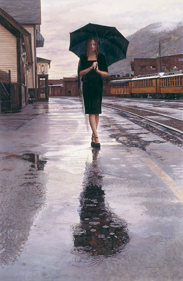 Steve Hanks - Waiting in the Rain -  MASTERWORK CANVAS EDITION Published by the Greenwich Workshop
