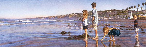 Steve Hanks - Children on La Jolla Shores -  LIMITED EDITION CANVAS Published by the Greenwich Workshop