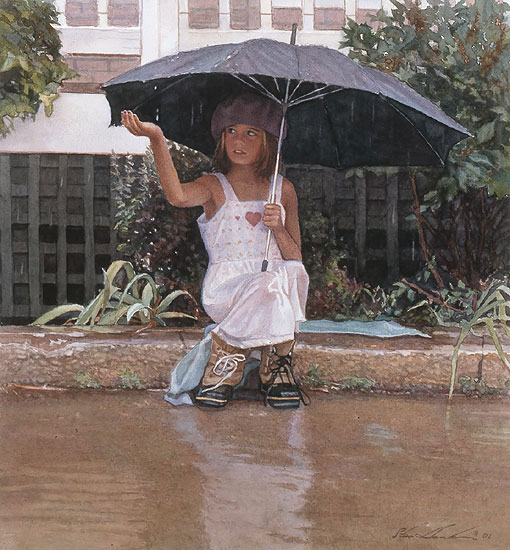 Steve Hanks - Catching the Rain -  LIMITED EDITION PRINT Published by the Greenwich Workshop