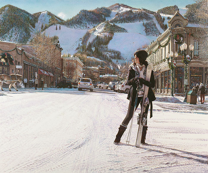 Steve Hanks - Aspen Winter -  LIMITED EDITION CANVAS Published by the Greenwich Workshop
