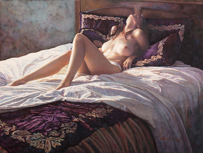 Steve Hanks - In the Soft Comfort of Her Bed -  LIMITED EDITION CANVAS Published by the Greenwich Workshop