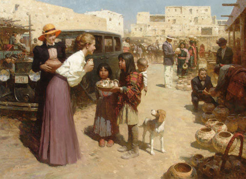 Z.S.  Liang - Pueblo Street Market, 1920s -  MASTERWORK CANVAS EDITION Published by the Greenwich Workshop