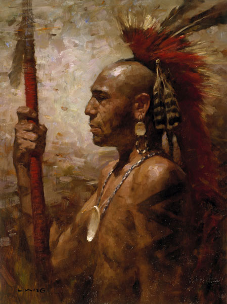 Z.S.  Liang - Pequot Warrior -  LIMITED EDITION CANVAS Published by the Greenwich Workshop