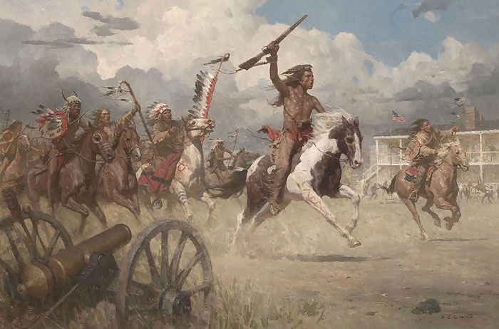 Z.S.  Liang - The Charge of Crazy Horse on Fort Laramie, 1864 -  MASTERWORK CANVAS EDITION Published by the Greenwich Workshop