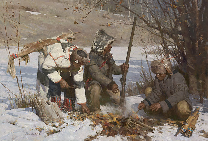 Z.S.  Liang - Assiniboine Hunters -  LIMITED EDITION CANVAS Published by the Greenwich Workshop