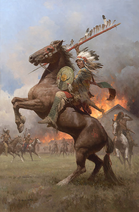 Z.S.  Liang - Cheyenne Burning of Fort Phil Kearney,1868 -  MASTERWORK CANVAS EDITION Published by the Greenwich Workshop