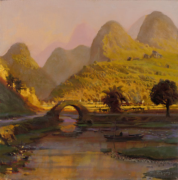 Mao Yigang - Li River in Fall Color -  LIMITED EDITION CANVAS Published by the Greenwich Workshop
