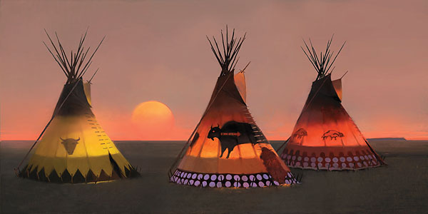 R. Tom Gilleon - Indian Sunset II -  MUSEUMEDITION CANVAS Published by the Greenwich Workshop