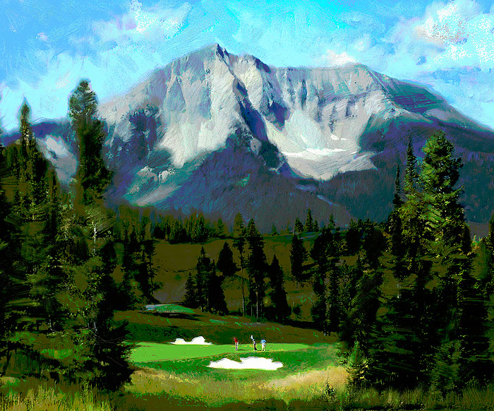 R. Tom Gilleon - 16th Hole, the Reserve at Moonlight Basin -  LIMITED EDITION CANVAS Published by the Greenwich Workshop