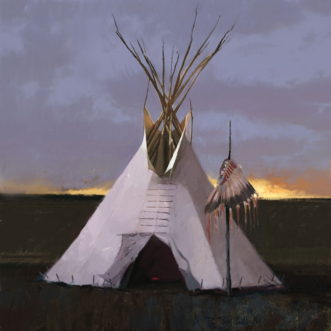 R. Tom Gilleon - Headdress Lodge -  LIMITED EDITION CANVAS Published by the Greenwich Workshop
