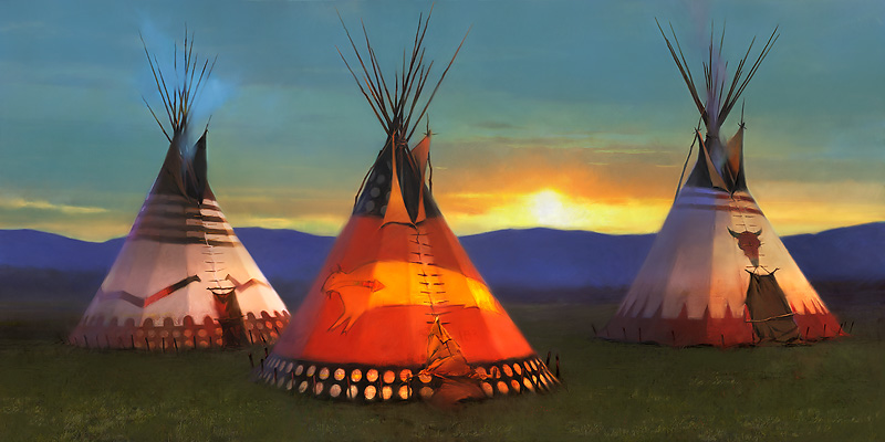 R. Tom Gilleon - Blackfeet Country -  LIMITED EDITION CANVAS Published by the Greenwich Workshop