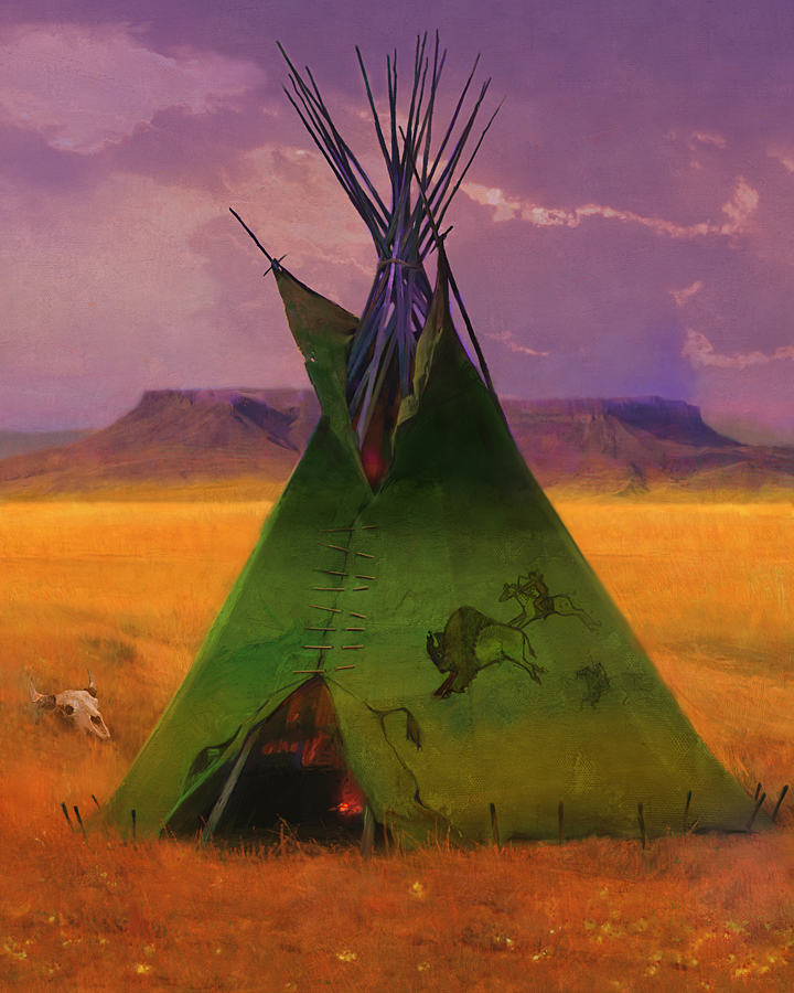 R. Tom Gilleon - Green Buffalo Lodge -  LIMITED EDITION CANVAS Published by the Greenwich Workshop