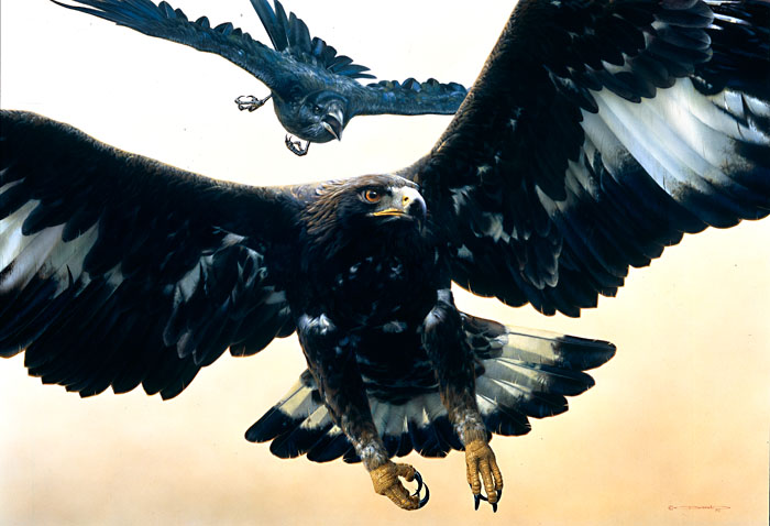 Carl Brenders - Without Warning-Golden Eagle and Raven -  LIMITED EDITION PRINT Published by the Greenwich Workshop