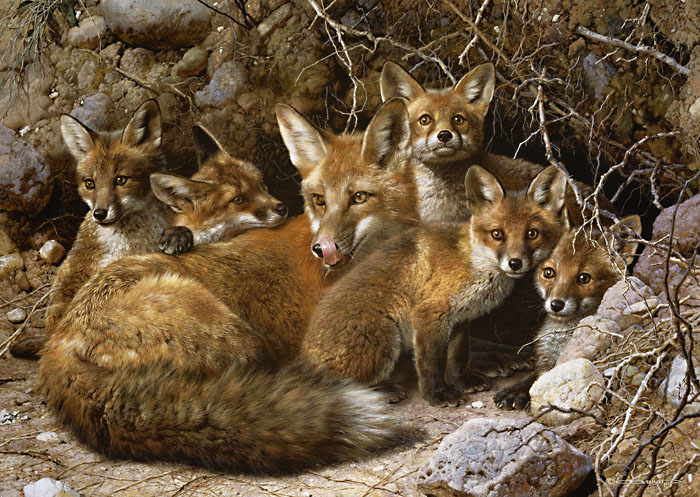 Carl Brenders - Full House - Fox Family -  MASTERWORK CANVAS EDITION Published by the Greenwich Workshop
