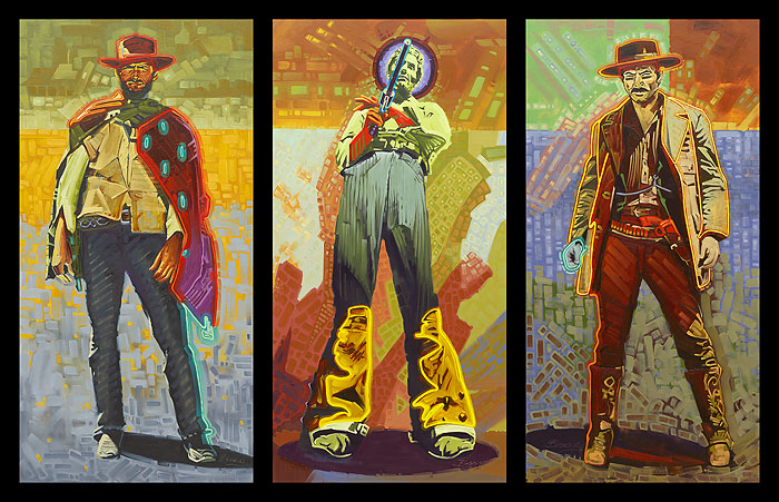Michael Blessing - Neon Gunslingers -  MUSEUMEDITION CANVAS Published by the Greenwich Workshop