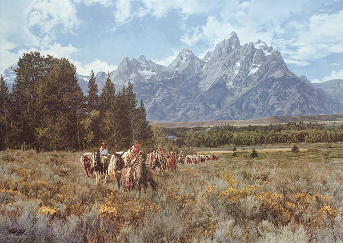 Paul Calle - In the Valley of the Grand Tetons -  LIMITED EDITION CANVAS Published by the Greenwich Workshop