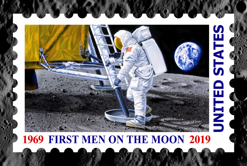 Chris Calle - FIRST MEN ON THE MOON -  LIMITED EDITION CANVAS Published by the Greenwich Workshop